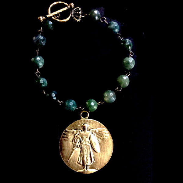 Saint Michael Victory Medallion Moss Fusion Bracelet by Whispering Goddess - Gold