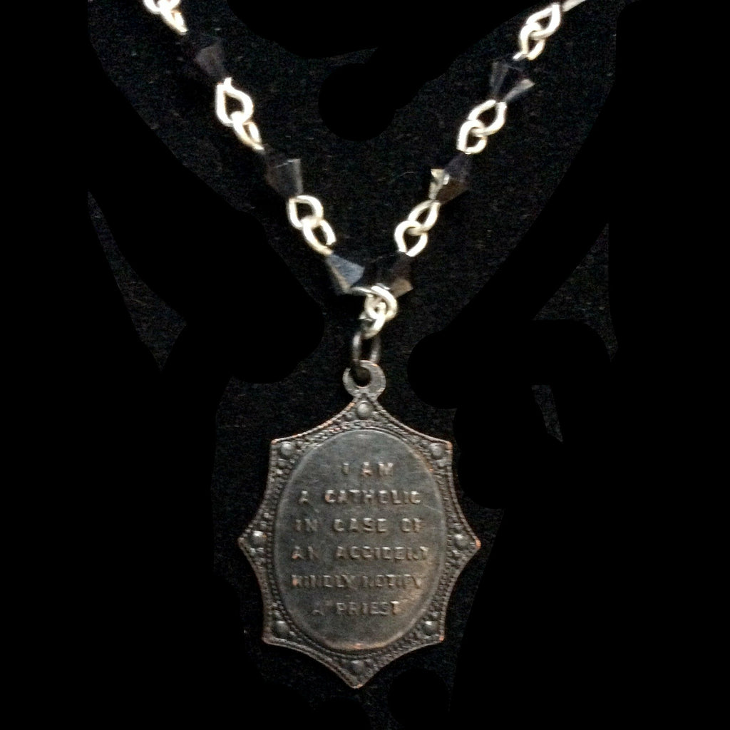 Forgotten Graces Black Saint Christopher Medal in Bicone Hematite and Silver Necklace