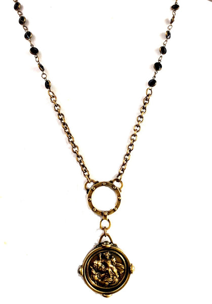 French Kande Cable Chain and St. Christopher Medallion Necklace