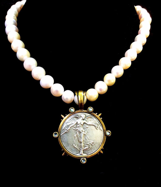 French Kande Victory L'Ange Angel Medallion Freshwater Pearl Necklace