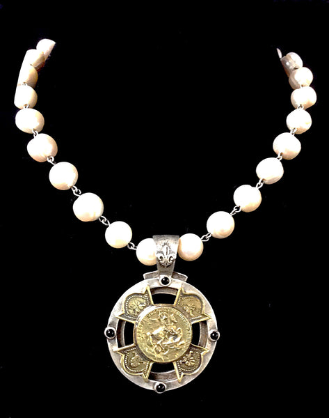 French Kande St. George Equestrian Stack Cross Medallion Pearl Necklace