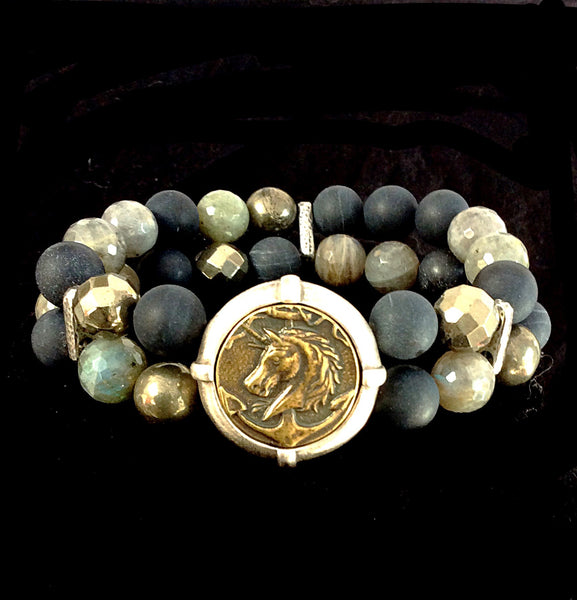 French Kande Forest Mix Double Strand Colonies Medallion Bracelet