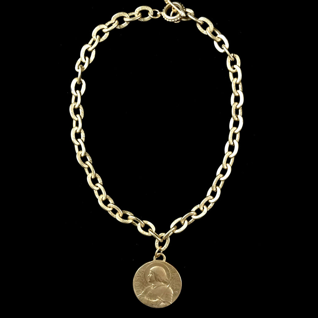 Saint Joan of Arc Bravery Link Necklace in Matte Gold