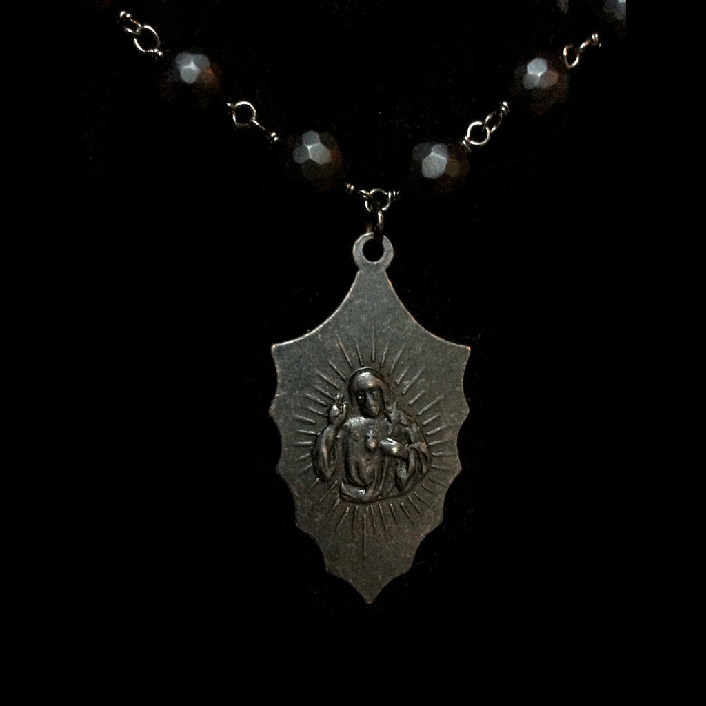 Forgotten Graces Miraculous Medal in Gunmetal and Faceted Black Jasper Necklace