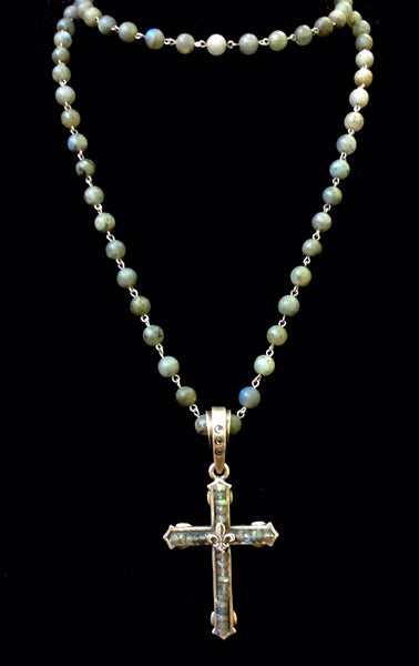 French Kande Fleur de Lis Cross Channel Necklace in Labradorite 40""