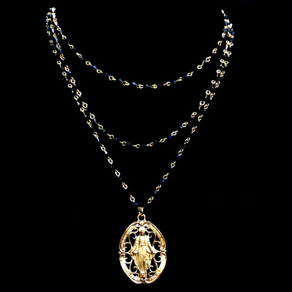 Glistening Grace Miraculous Medal Necklace Bicone Hematite & Gold