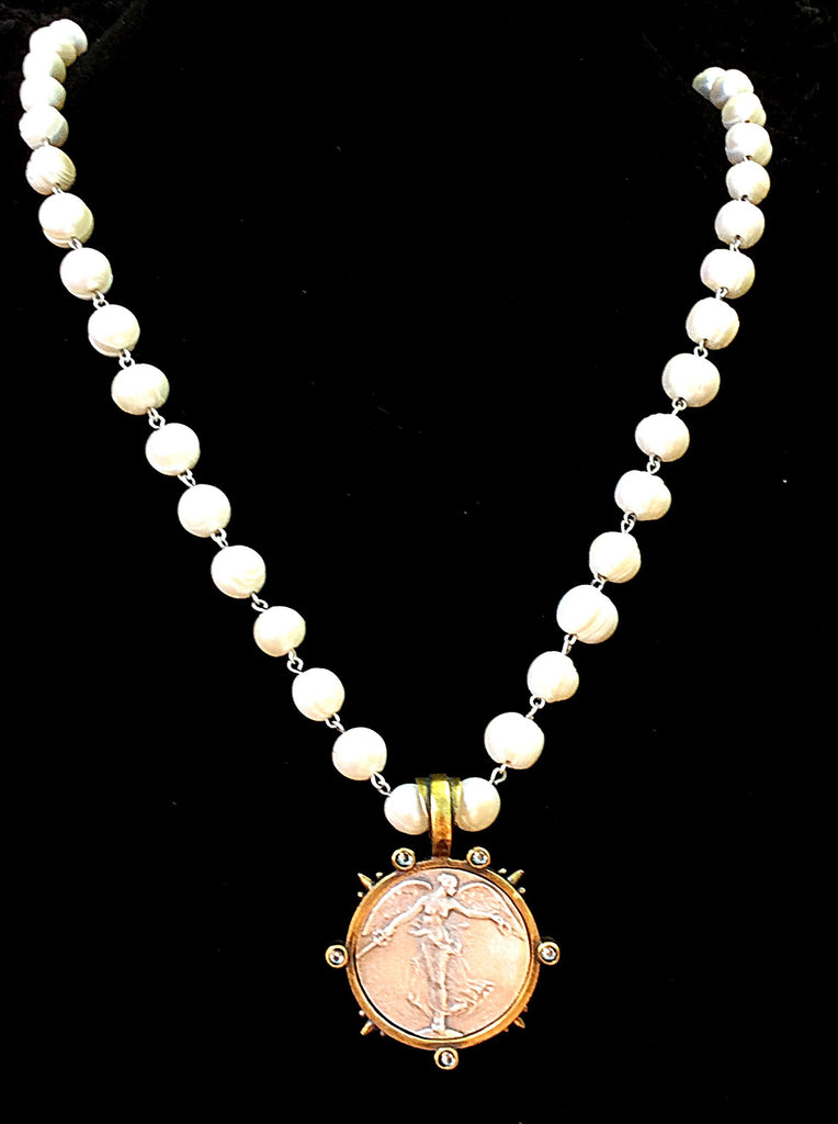 French Kande Victory  Angel Medallion Freshwater Pearl Necklace 32""
