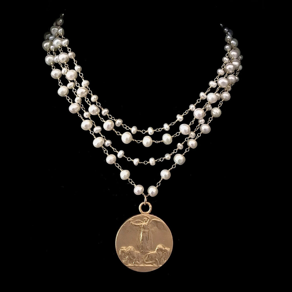 Sophia Freshwater Pearl Necklace with the Goddess Victoria
