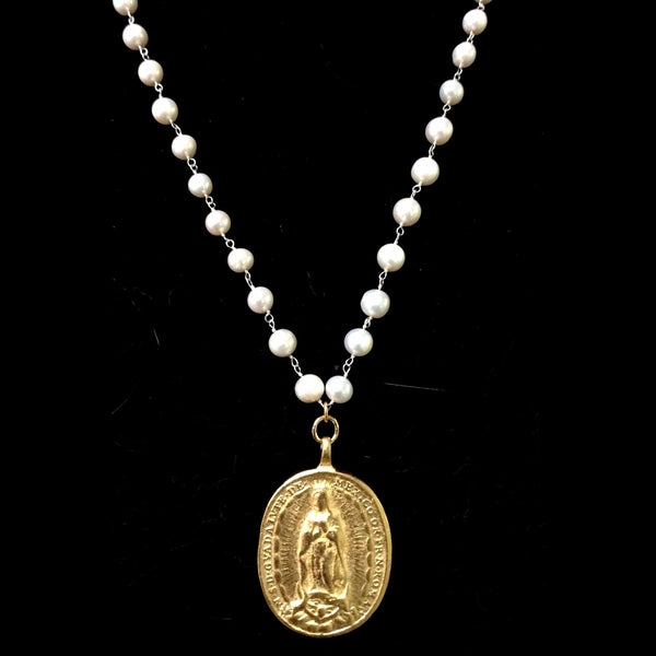 Cristo Rey Pearly Gates Necklace with Saint Michael & Guadalupe in Gold