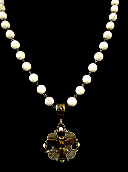French Kande White Turquoise Miel Merit Stack Medallion Necklace 28""