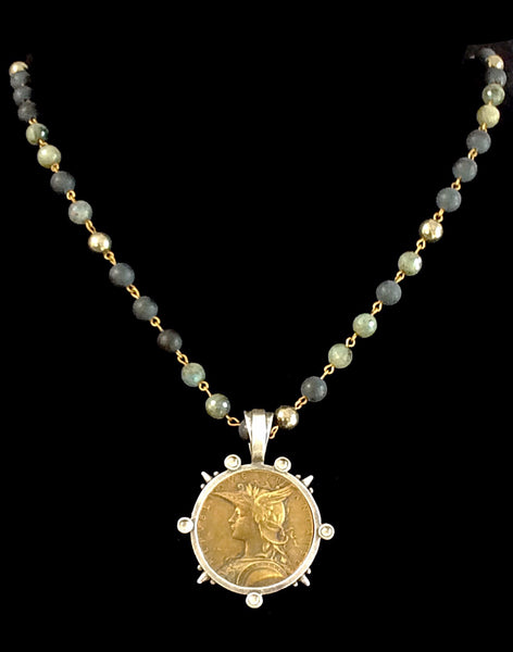 French Kande Joan of Arc Ministry Medallion Midnight Mix Necklace 34""