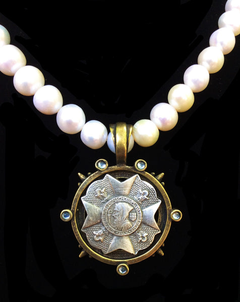French Kande Freshwater Pearl St. Benedict Bravoure Medallion Necklace