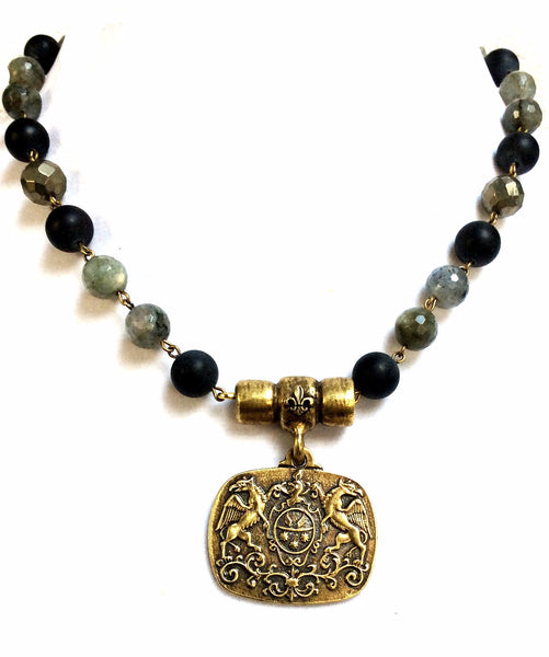 French Kande Midnight Mix Moillard Medallion Necklace