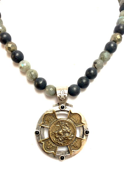 French Kande Midnight Mix St. George Equestrian Stack Cross Medallion Necklace 17""