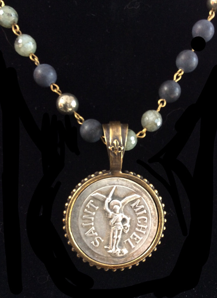 French Kande St. Michael Medallion Midnight Mix Necklace 34""