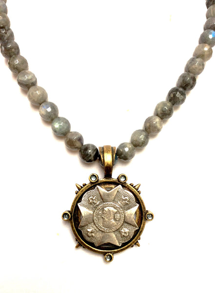French Kande Labradorite St. Benedict Bravoure Medallion Necklace