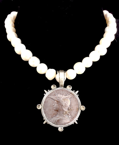 French Kande Freshwater Pearl  Joan of Arc Ministry Medallion Necklace Silver