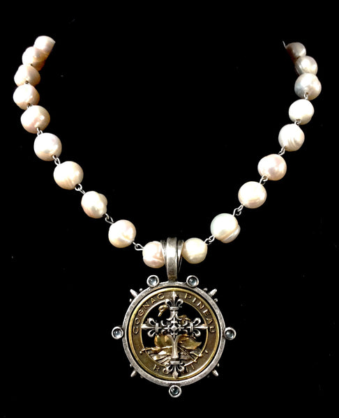 French Kande Freshwater Pearl Pineau Cross Necklace 17""
