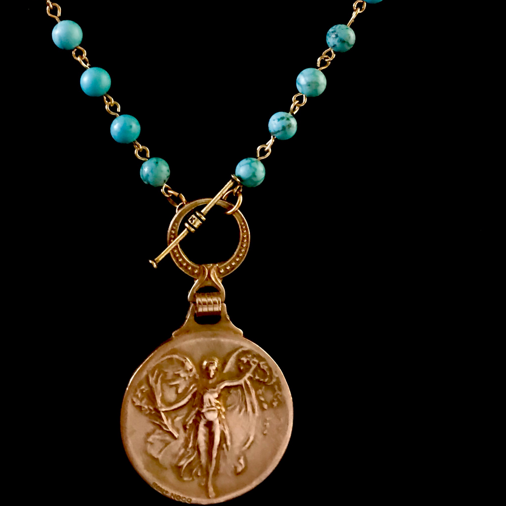 Nike the Goddess of Victory Turquoise and Gold Necklace