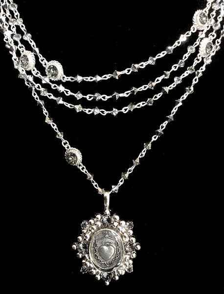 New! Bicone Comet Virgins Saints & Angels Oval Sacred Heart Magdalena Necklace in Silver