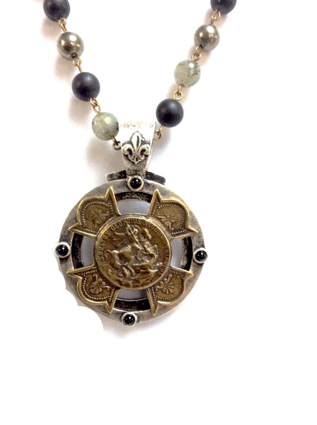 French Kande Equestrian Medallion with St. George Necklace in Forest Mix 30""