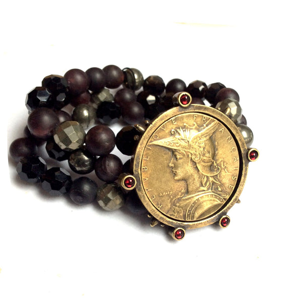 French Kande Garnet Mix Triple Strand Joan of Arc Ministry Medal Bracelet