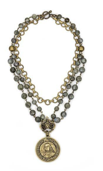 French Kande Triple Strand Faceted Labradorite with Baby Bubble Chain with Joan n William Medalallion Necklace 16""