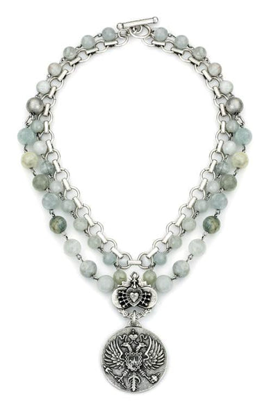 "French Kande  Aquamarine with Double Cable Chains  Canard ""Phoenix Rising"" Medallion Necklace 17"""