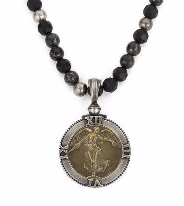 French Kande  L'Ange Victory Angel Medallion in Shadow Opal Necklace