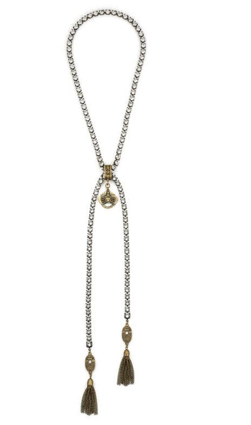 French Kande Swarovksi with Immaculate Heart and Curvee Pendants Lariat Necklace