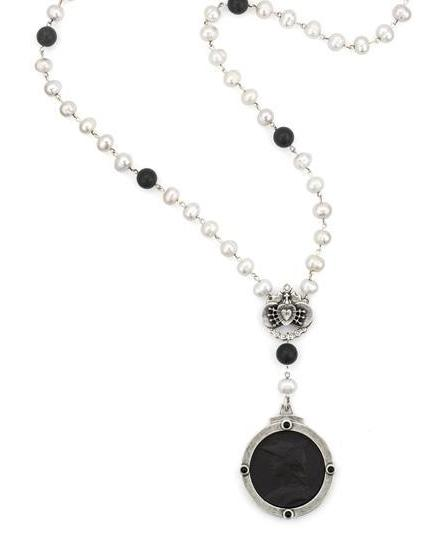 French Kande Freshwater Pearl  Ministry Medallion Necklace with Immaculate Heart Necklace Silver