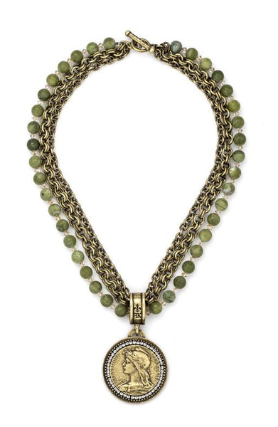 French Kande Triple Strand Matte Verte Jade and Chain with Chemins Medallion Necklace 18""