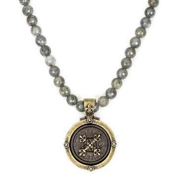 French Kande Gray Labradorite Black Rex Cross Stack Medallion Necklace Gold