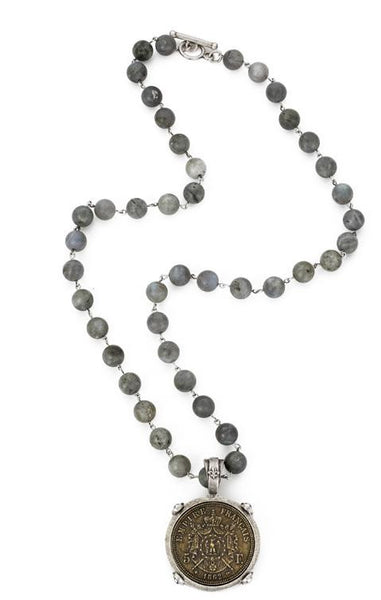 French Kande Daadler Empire Medallion Labradorite Necklace 28""