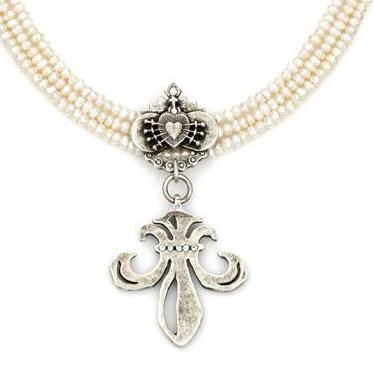 French Kande Triple Freshwater Pearl with Grande Fleur de Lis Necklace 17""