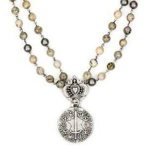French Kande  African Opal Double Strand African Opal withe Immaculate Heart and Du Terre Medallion Necklace  17""