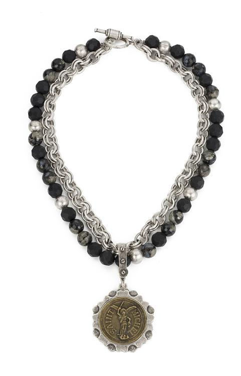 French Kande St. Michel Double Strand Shadow Opal Provence Chain Necklace