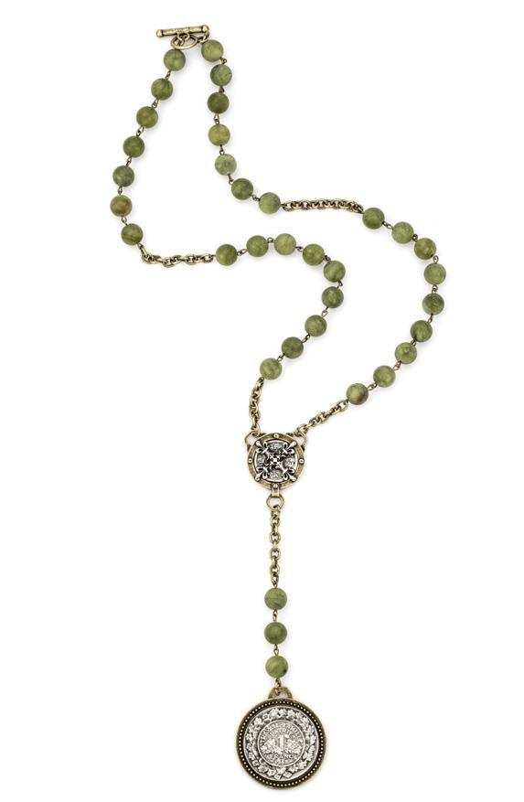 French Kande Verte Jade with Famille and X Cross Medallion 26""