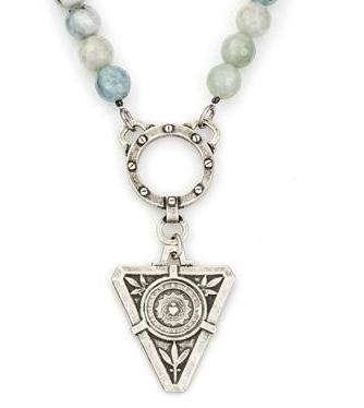 French Kande  Faceted Aquamarine  De La Ville Medallion Necklace 17""