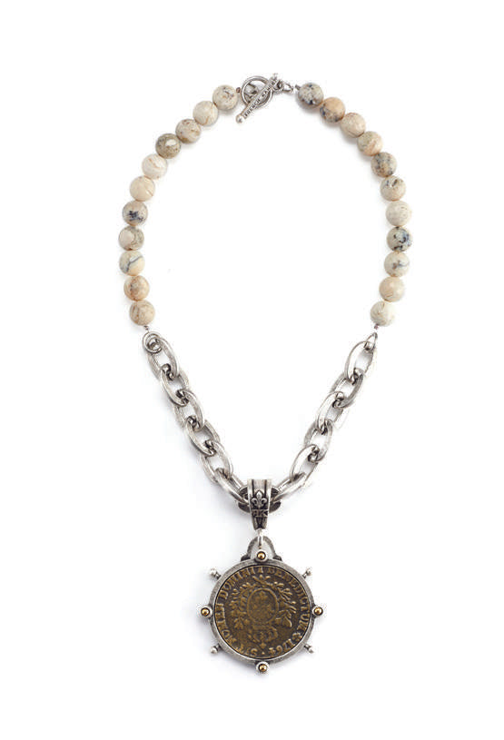 "French Kande  African Opal Domini ""Blessed Be"" Medallion with Lourdes Chain Necklace"
