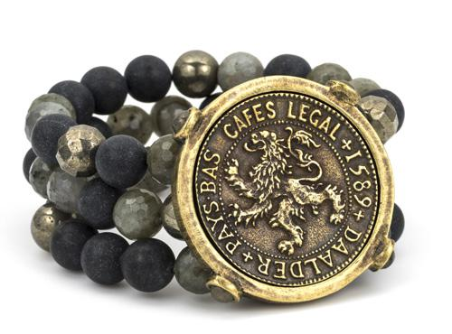 French Kande Midnight Mix Triple Strand Daadler Medallion Bracelet