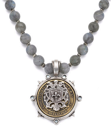 French Kande Sandblasted Labradorite Pineau Fleur de Lis Medallion Necklace 17""