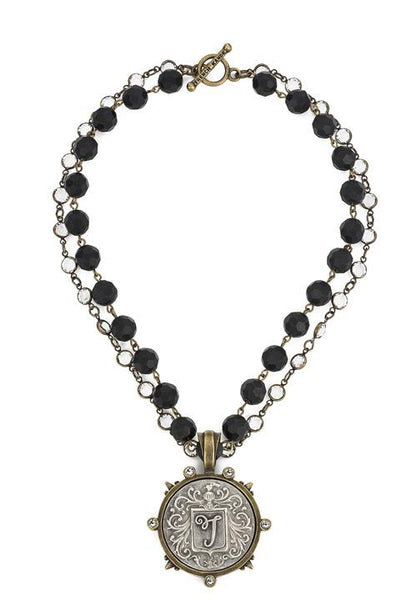 French Kande  Faceted Black Onyx with Crystals Flourish Initial Medallion Necklace