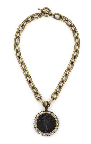 French Kande Lourdes Chain with L'Ange Medallion with Swarovski Medallion Necklace