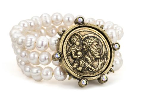 French Kande Pearl Triple Strand Saint Christopher Medallion Bracelet