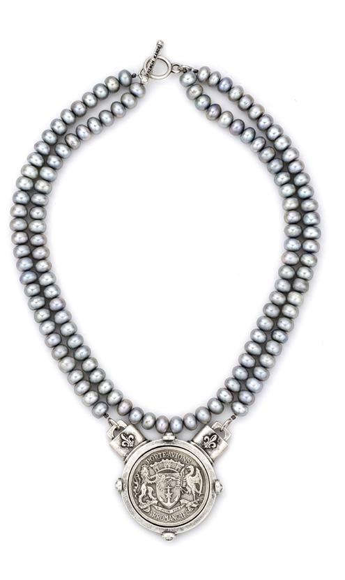 French Kande Double Silver Pearl with Avion Medallion Necklace
