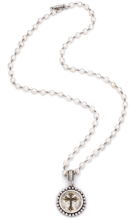 French Kande Rex Cross Medallion Freshwater Pearl Necklace 28""