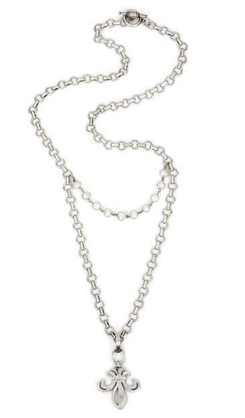 "French Kande Baby Bubble Chain with Pearl & Swarovksi Fleur de Lis Necklace 34"" Silver"