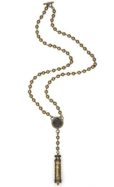 French Kande Chermin de Fir with Brass Metal Beads and Petite Joan Medal