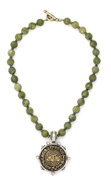 French Kande  Verde Jade with Pyrite Famille Medallion Necklace